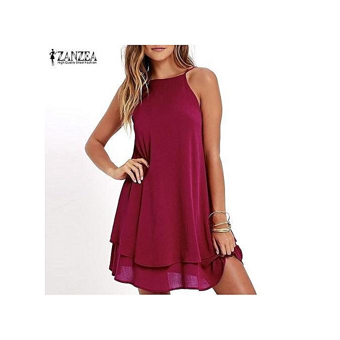 c7fe2a3931b9 ZANZEA Women Strappy Loose Casual Solid Short Mini Dress Summer Beach Dress  Plus (Wine Red
