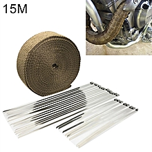 15m Titanium Gold Exhaust Wrap Auto Motor Exhaust Heat Shield Wrap Heat Resistant Wrap