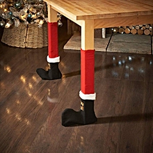 4Pcs Christmas Red Table Chair Legs Feet Sock Sleeve Cover Floor Protector Tables Leg Covers Party