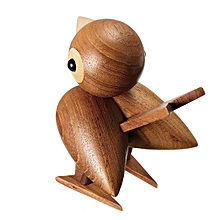 Denmark Style sparrow Animals Wooden Doll Teak Puppet Home Desktop Decor Toy Gift #
