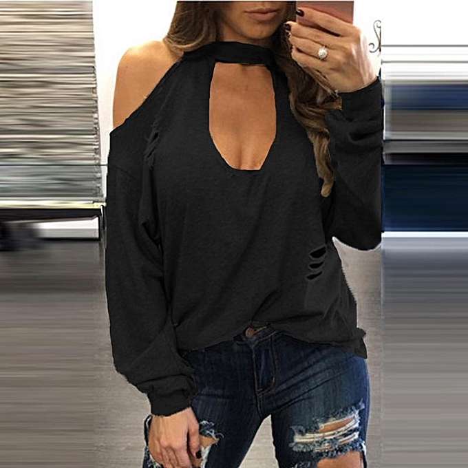 1becbca13c030f ZANZEA Fashion Long Sleeve Halter Cold Shoulder Pullover Shirt Top Sexy  Back Keyhole Blouse Female Autumn