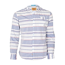 White And Blue Striped Long Sleeved Shirt.