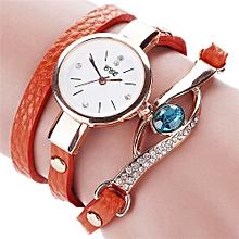 guoaivo  CCQ Women Fashion Casual Analog Quartz Women Rhinestone Watch Bracelet Watch OR -Orange