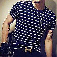 Elegant Men's Tops Tees summer new cotton striped t shirt men fashion t shirt super size M/X/5XL-navy blue