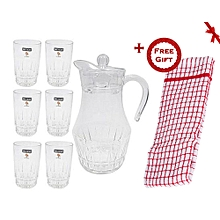 7 Pcs Drinking Glass Set (+ Free Gift Hand Towel).