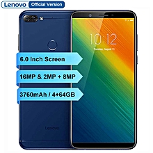 K5 Note 6-inch (4GB, 64GB ROM) Android 8.1, 16MP+8MP, 3760mAh, Dual Sim 4G LTE Smartphone - Blue