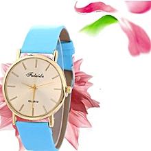 Lady  Leather Wrist Watch Fulaida  Women Wind Quartz Quality Watch Leather Strap Belt Table Watch BU-Blue