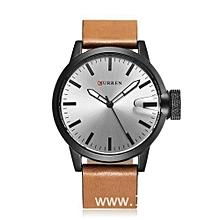 Men Sports Leather Quartz Military Wrist Watch