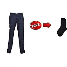 Navy Blue Slim Fit Khaki Pants with FREE socks