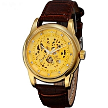 Brown Automatic Self-wind Leather Strap Mens' Wrist Watch