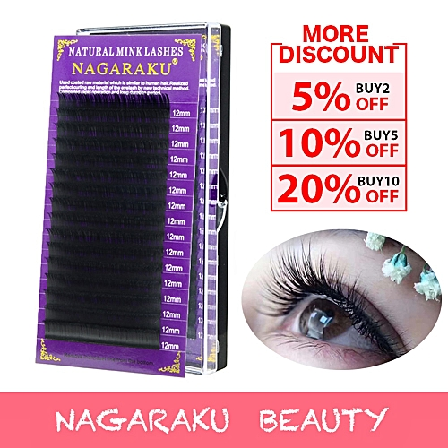 NAGARAKU All size High quality mink eyelash extension Matte lashes Faux  individual eyelashes natural eyelashes cilia lashesCurl: D Thickness: 0 20mm