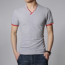 Refined Men's Tops Tees summer new cotton V neck t shirt men fashion casual t shirt super size M/X/5XL-grey