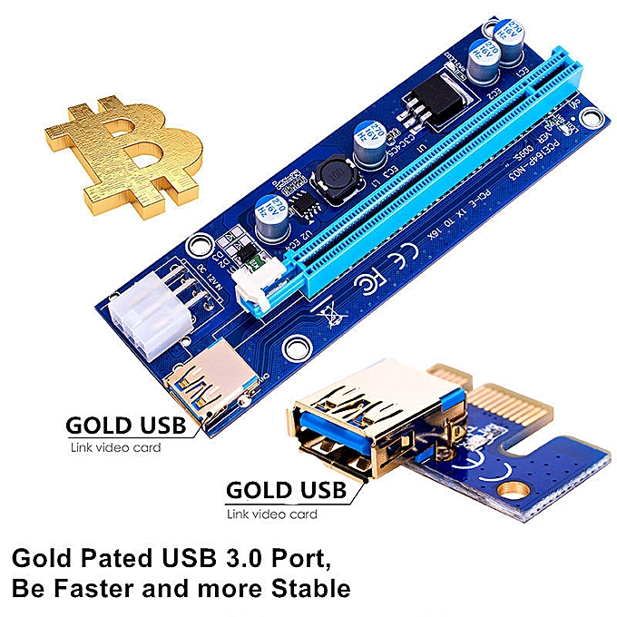 1pcs Ver009s Led Pci-e Riser 1xto16x Usb3.0 Images Mining Extension Cable Computer & Office