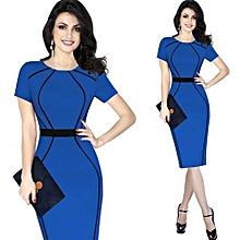 Women Contrast Patchwork Sheath Dress - Blue