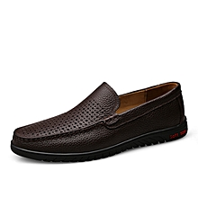 Mens Fashion Genuine Leather Loafers Hollow Shoes Soft Brown