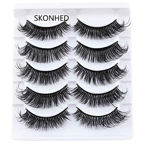 5 Pairs Handmade Faux Mink Hair False Eyelashes Messy Cross Thick Natural  Fake Eye Lashes Makeup Long Extension Tools(Brushed Br)