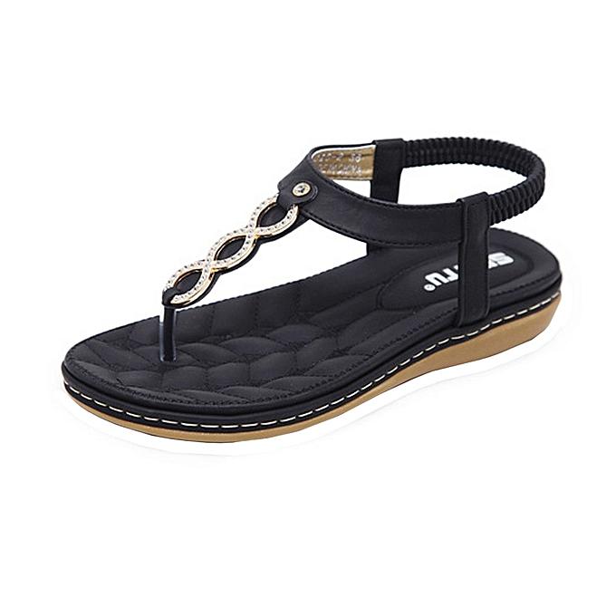 6ae0e662343b Fashion Women Bohemia Girls Metal Buckle Rhinestone Flat Sandals Outdoor  Shoes