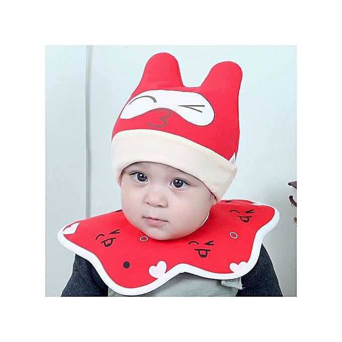 1893eae0 Cotton Baby Boy Girl Cap Cat Hat Bib Head Scarf Toddler Saliva Set Red-Red