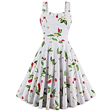 Condole belt Floral Print Dress - White