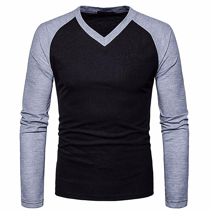 Mens Casual Long Sleeve Shirt Slim Fit Shirt V Neck Patchwork  Blouse Top - Black