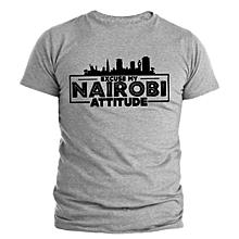 Nairobi Attitude Light Grey Printed T-Shirt Design