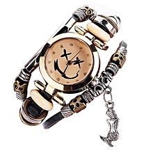 CCQ  Vintage Cow Leather Bracelet Watch Men Women Wristwatch Quartz