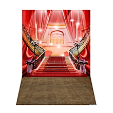 Andoer 1.5 * 2.1m/5 * 7ft Luxurious Palace Photography Background Red Carpet Staircase Wedding   Backdrop Photo Studio Pros
