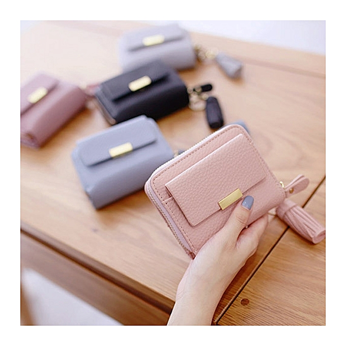 29ced811093d Women Candy Color Tassel Short Wallets Girls Zipper Purse Card Holder Coin  Bags