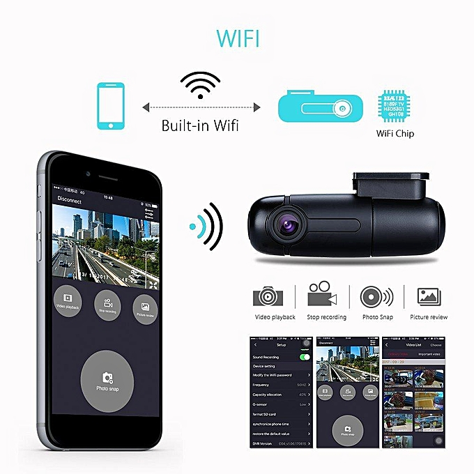 Blueskysea B1W WiFi Mini Dash Cam Car Camera 360 Degree Rotatable Lens  1080p 30fps G-Sensor Loop Recording WANKAI