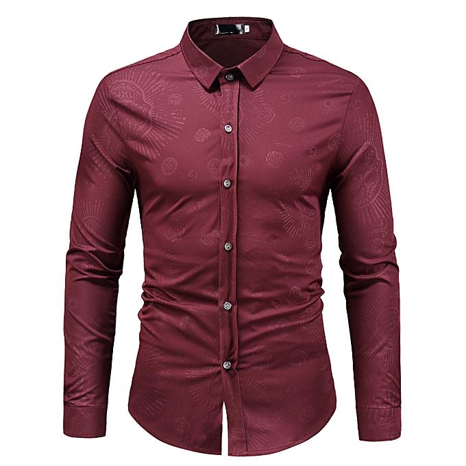 010ce335 Mens Printed Shirts Slim Fit Long Sleeves Shirt - Red