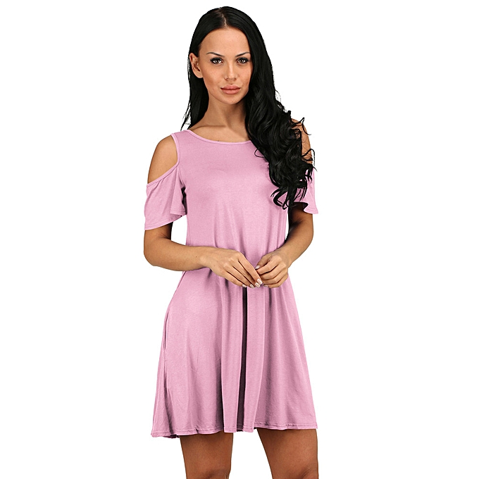 9be2f8edce52 paidndh store Women Summer Cotton Loose Solid Off-Shoulder Casual Sundress  Mini Dress -Pink