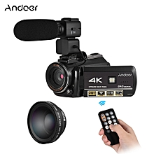 """Andoer AC3 4K UHD 24MP Digital Video Camera Camcorder DV Recorder 30X Zoom WiFi Connection IR Night Vision 3.0"""" LCD Touchscreen with Extra 0.45X Wide Angle Lens + External Microphone"""