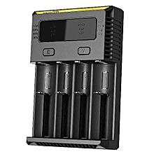 Nitecore 2016 NEW I4 Smart Battery Charger 4-slot Li-ion 18650 26650 AAA Ni-MH US Plug Black