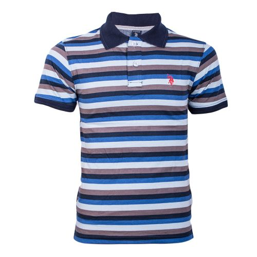 Black And Blue Light Striped Polo