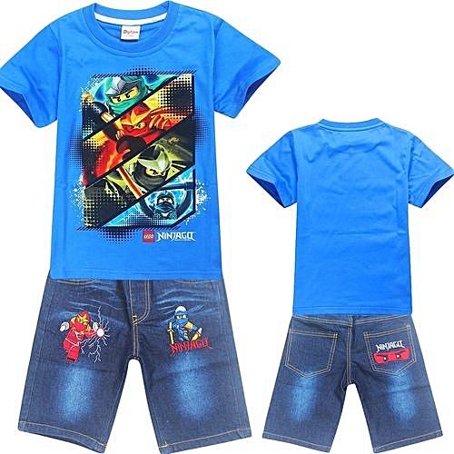 e0d7c01131d1 2-10 Yrs Boys' 2 Pieces Cotton Jeans Pant + T-shirts (Color:Blue)