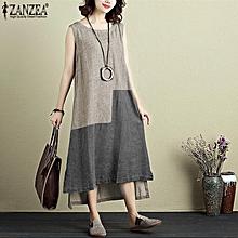 ZANZEA Women Plus Size Sundress Kaftan Contrast Color Boho Long Midi Dress