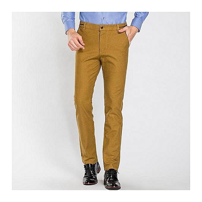 183167bd804 ... Autumn Winter Men s Casual Sanding Stretch Straight Slim Pants Business  Casual Dress Suit Pants ...