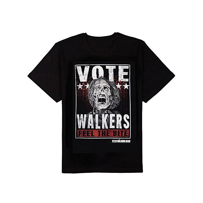 3320513ebbf1 Summer Fashion T-shirt The Walking Dead Vote Walkers Black T-Shirt Cotton  Short