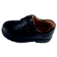 Boy's Durable pure leather Fashionable School Shoes - Black