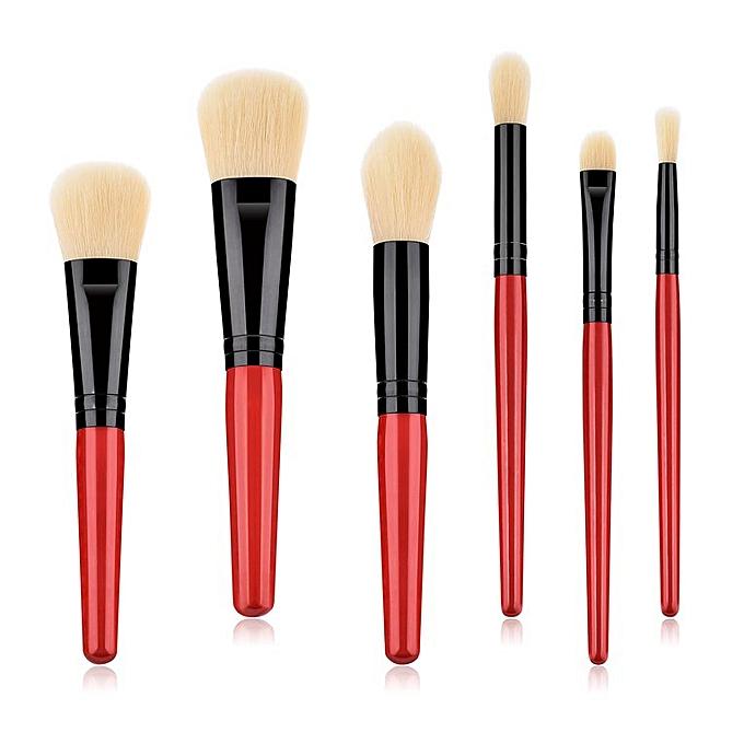 247483e5b703 6Pcs/set Makeup Brush Kit Brushes Set For Women Eyeshadow Facial Make Up Red