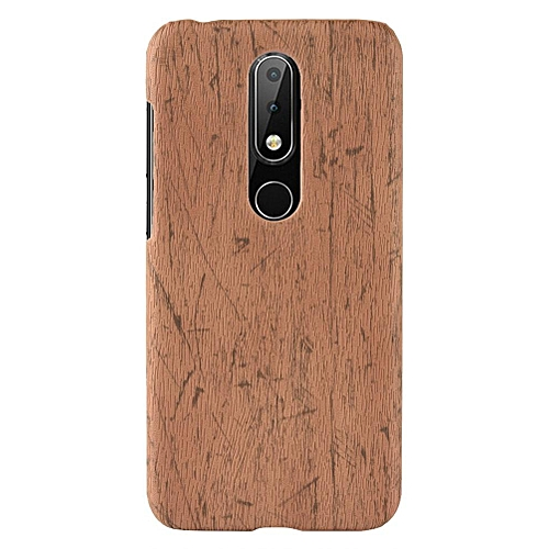 huge selection of 38151 ebe06 Nokia X6 Case, [wood Texture] PU Leather + Hard PC Protective Case Cover  for Nokia 6.1 Plus/Nokia X6
