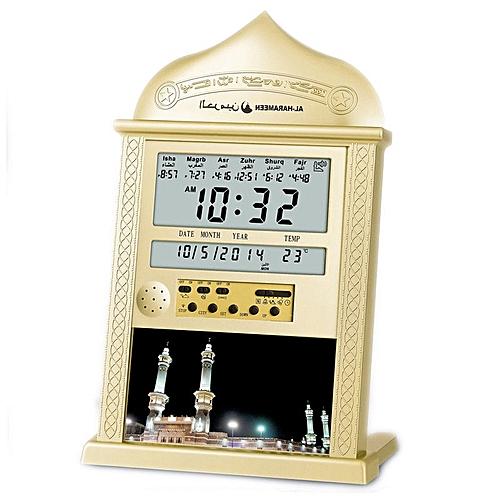 Praying Islamic Azan Table Clock Azan Alarm Clocks 1500 Cities Athan Adhan  Salah Prayer Clock Gold silver random delivery( )