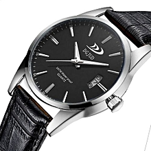 Gorgeous Trendy Men Military Sport Leather Gorgeous Stainless Steel Quartz Wrist Watch Black