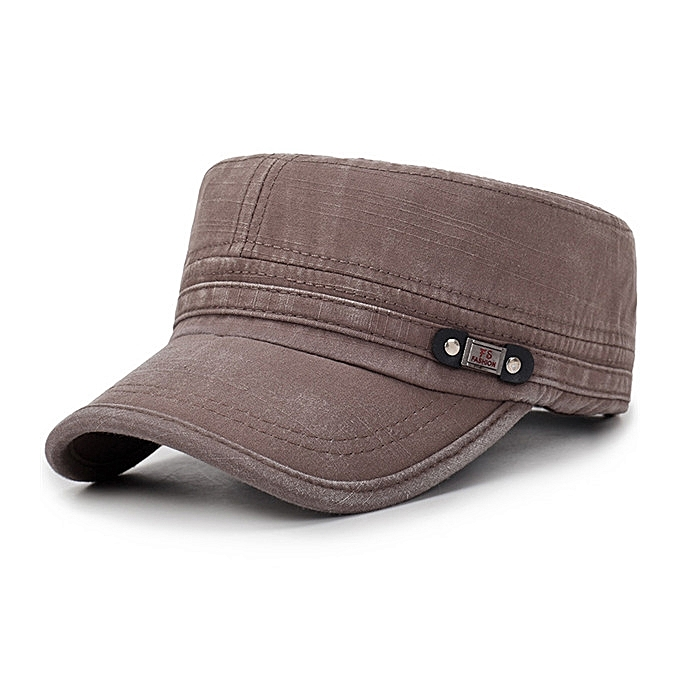 f5d4eaa05 Mens Washed Cotton Flat Top Hat Outdoor Sunscreen Military Army Peaked Dad  Cap