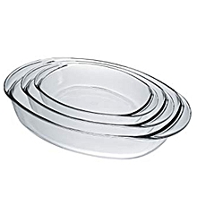 Duralex Oven Chef Glass Oval Baking Dishes/Roasters Set of 3