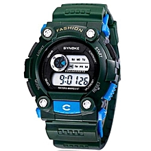 Sports Electronic Young People's Favorite Digital Watch Swimming Water-proof(Army Green)