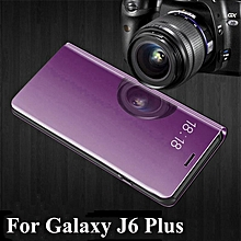 For Samsung J6 Plus/J4 Plus Cover Smart Plating Mirror Flip Case Clear View Housing Shell