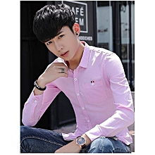 PINK Male Oxford Shirt Mens Long Sleeve Shirt Youth Leisure Slim Shirt Korean StudentsL