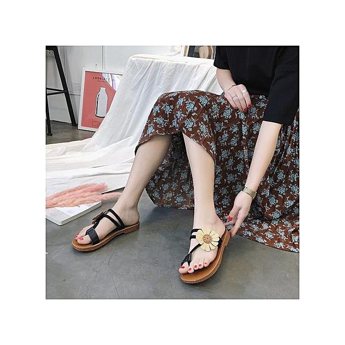 e8d28a62c017f Fashion Xingbiaocao Fashion Women Flower Flat Heel Anti Skidding Beach  Shoes Sandals Slipper Black -Black