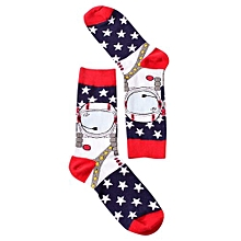 Men Simple Style Soft Comfortable Hosiery Contrast Color Cotton Socks For Adult Color:The Stars Size:all Men